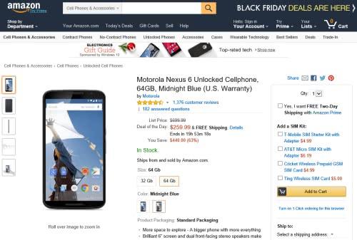 本日限りのセールで北米版Nexus6 64GBが63%offの超激安で販売中!