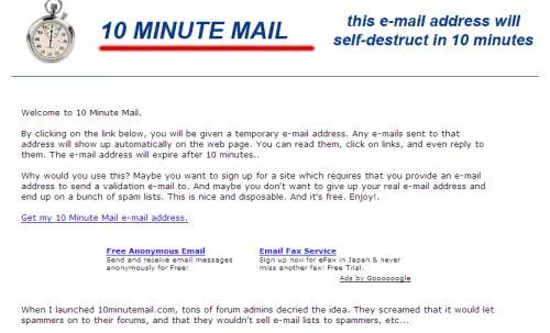 簡単に捨てアドを作ろう! - 10 Minute Mail