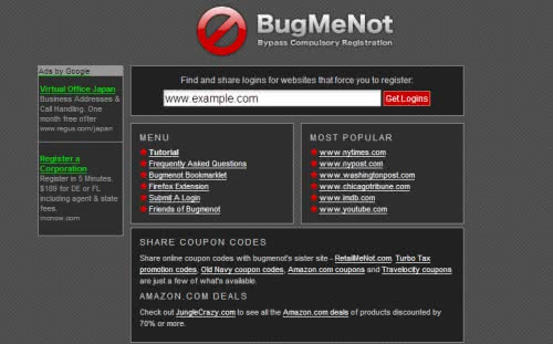 会員登録無しでサイト利用する方法 -  Bugmenot.com