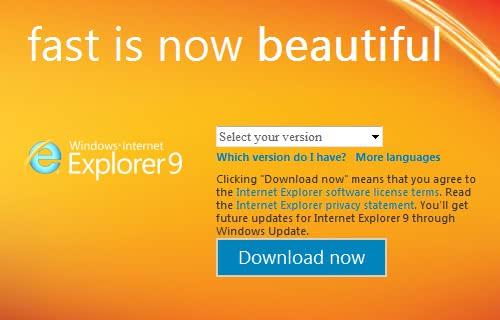 Internet Explorer 9の正式版を公開!ただし、日本語版は除く。